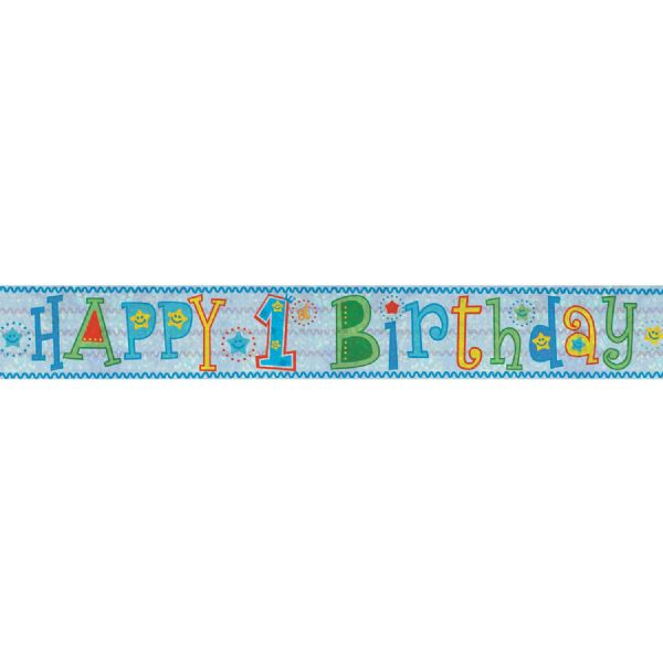 Holographic Blue Happy 1st Birthday Foil Banner